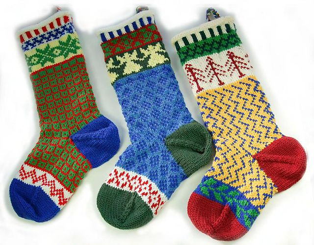 This stocking is knitted in the round from the top down on a circular needle. The doub ...