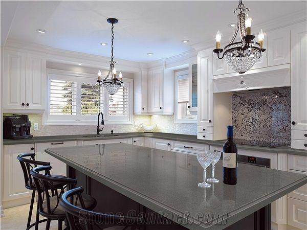 Good Pure Grey/Dark Grey Quartz Kitchen Countertop Smoke Quartz Stone Countertop  Slabs Engineered Stone Kitchen