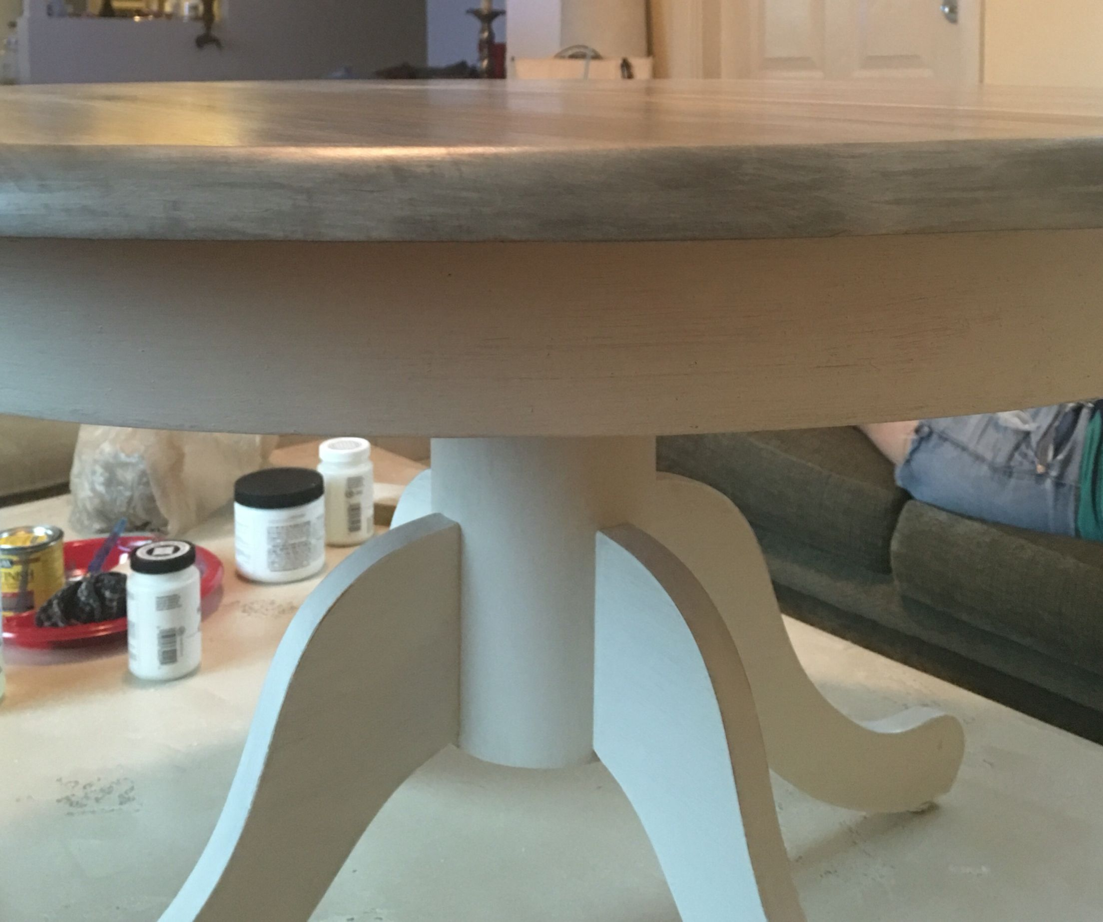 White Chalk Paint, Grey Stain, Lime Wash Glaze, And Several Layers Of Clear