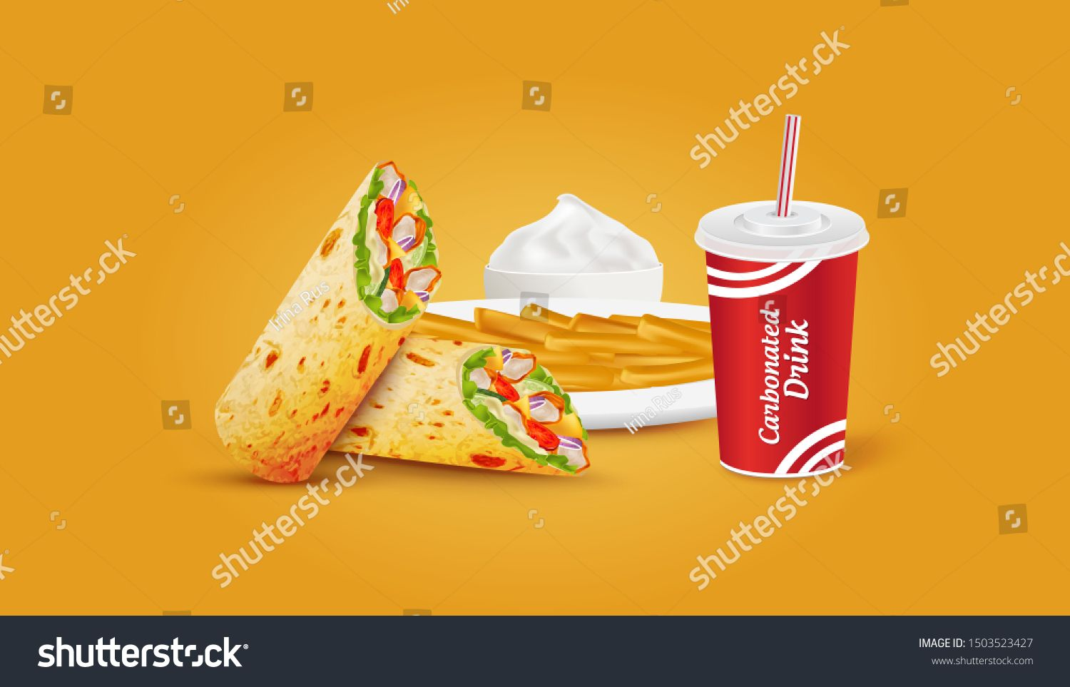 Vector Shawarma French Fries and Drink. Meat and Vegetables. Tacos. Arab food. Pita. Dish. Plate. Sour Cream, Mayonnaise. #Sponsored , #Sponsored, #Meat#Drink#Tacos#Vegetables