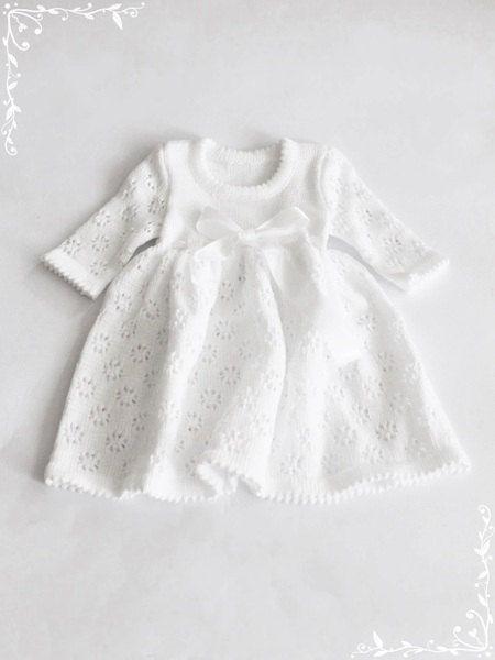 452014cfc5de Baptism dress Knit Baby girl Brigh white Dress Flower girls dress ...