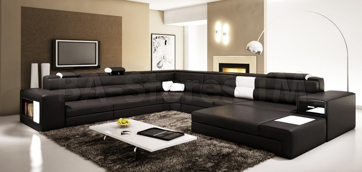 Polaris black contemporary leather sectional sofa vig for Living room ideas with black leather sectional