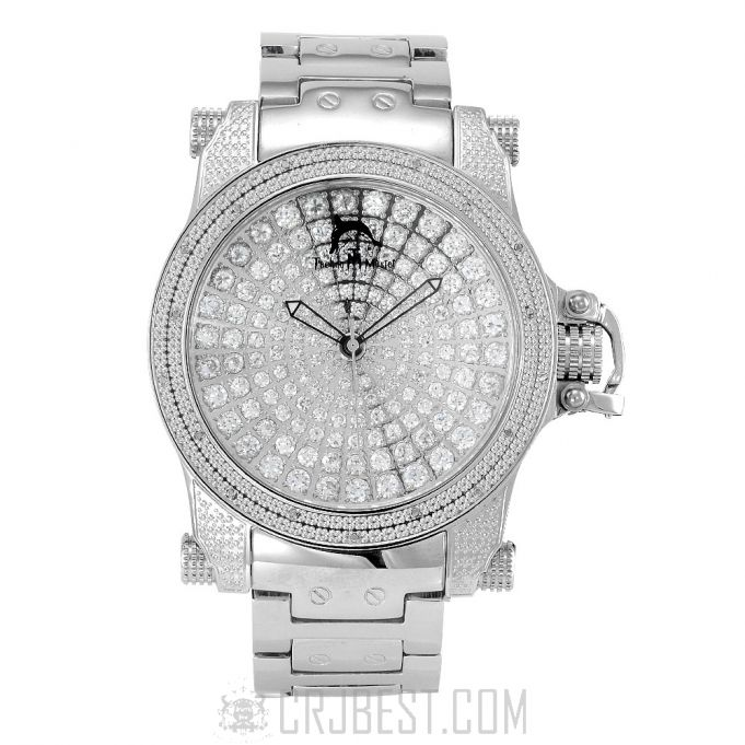 .18 CTW Techno Master's Iced Out CZ Dial Chronograph Diamond Watch