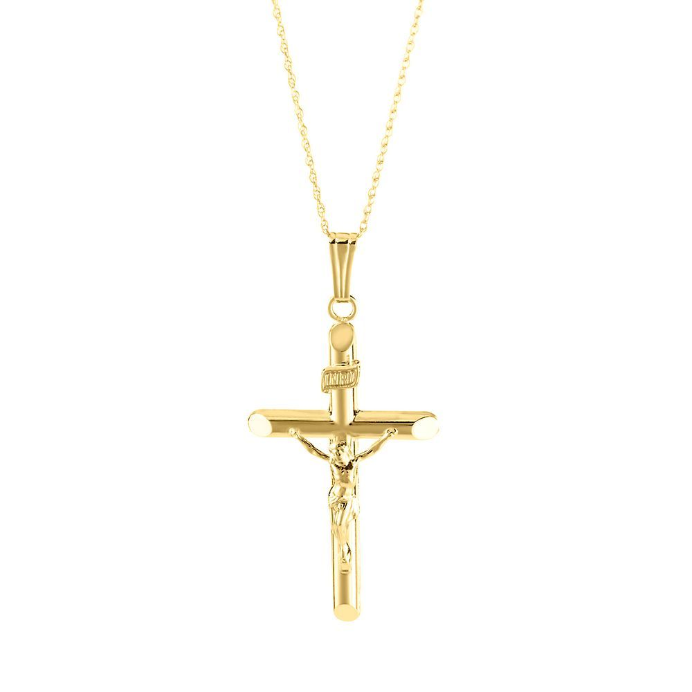 Crucifix Cross Pendant In 14k Yellow Gold Yellow Gold Cross Necklace Gold Cross And Chain Gold Cross Necklace