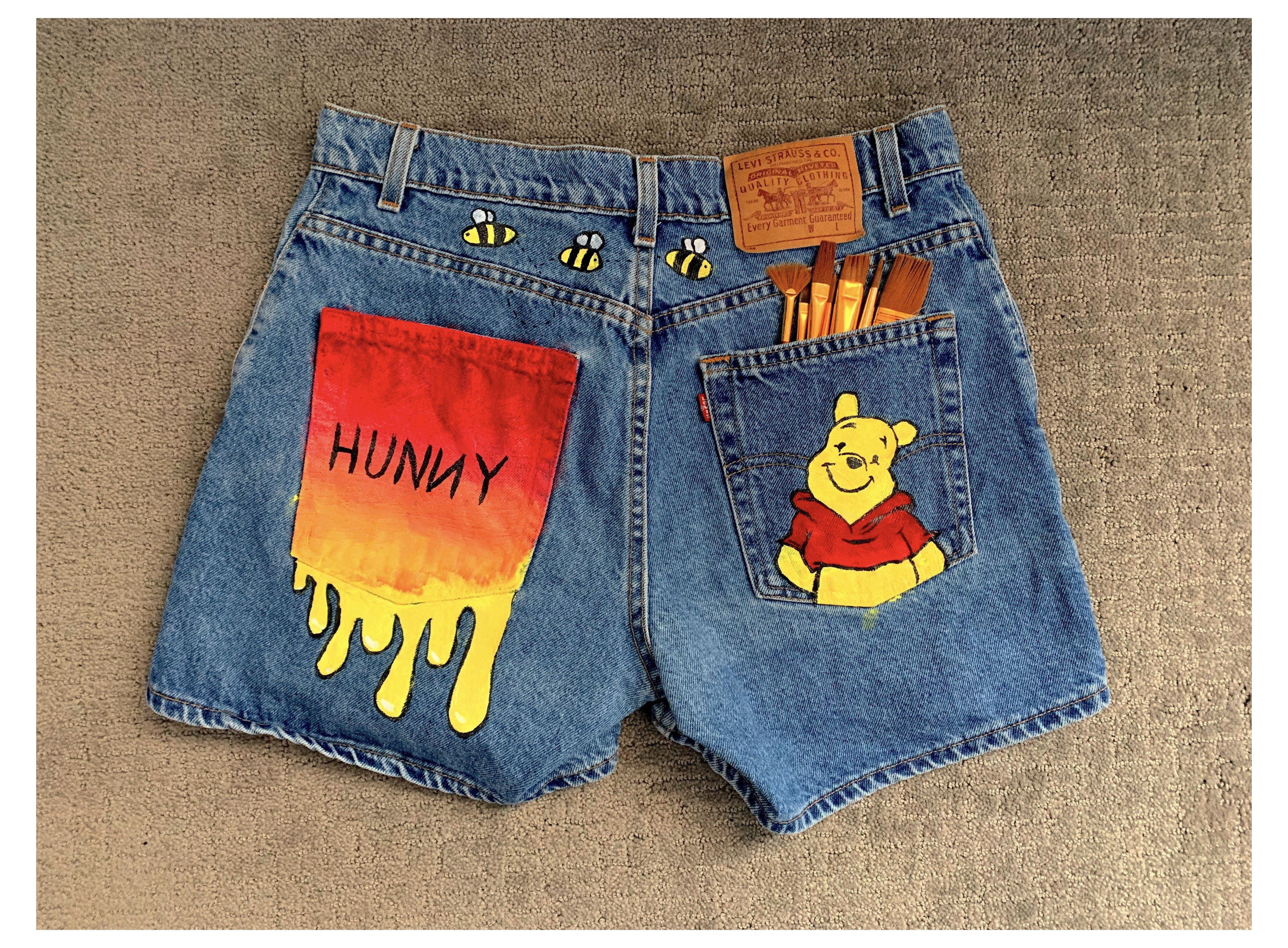 Winnie The Pooh Hand Painted Shorts 101142 Painted Jeans Paintedjeans Hand Painted Winnie The Pooh Levi Shorts Painted Shorts Painted Jeans Painted Denim