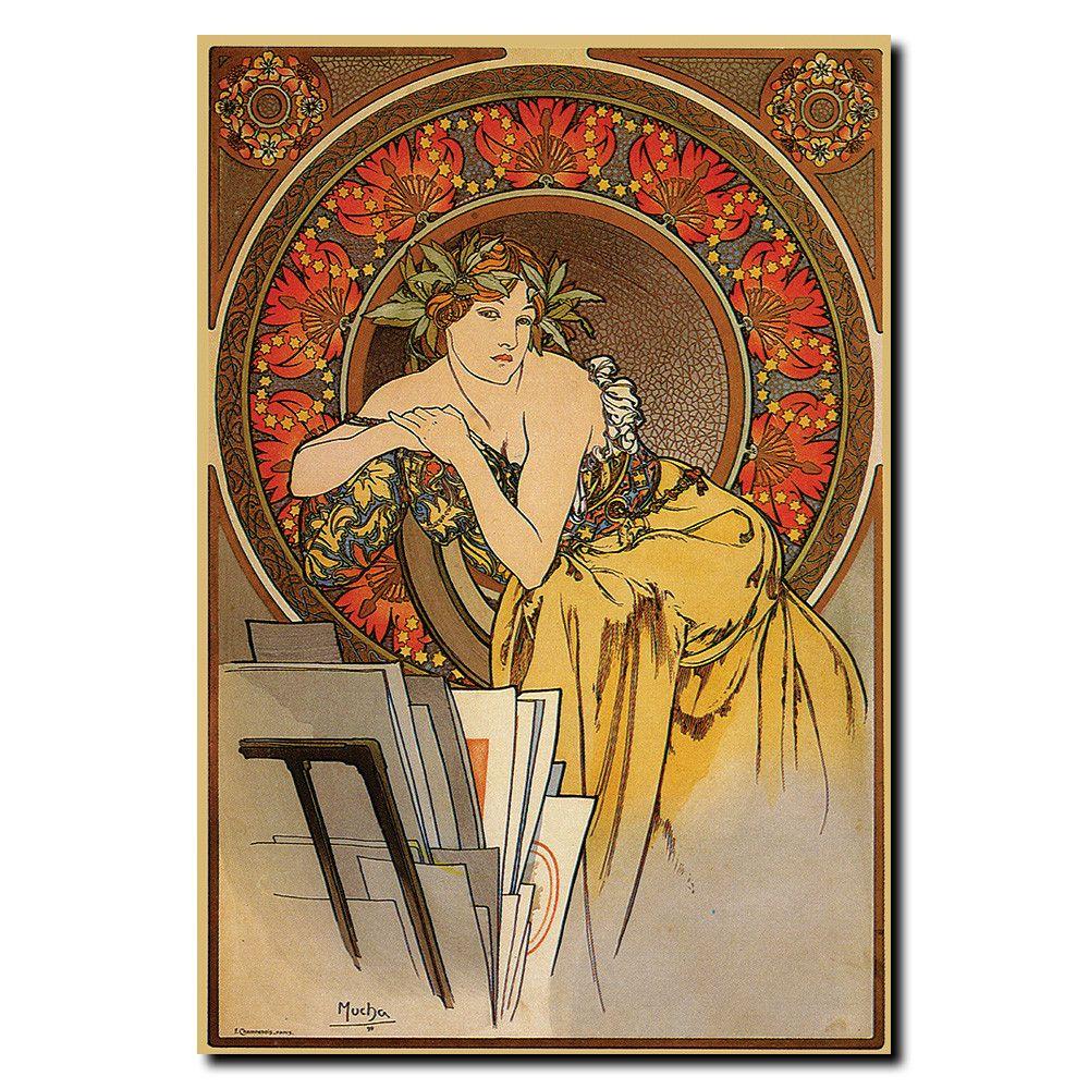 Vintage Mucha by Alphonse Mucha Wrapped Canvas Art | Jugendstil ...
