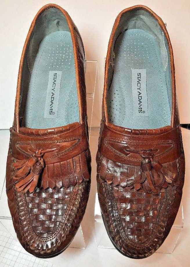 Stacy Adams Mens Size 10 M Moccasin Toe Brown Leather Tassel Loafers