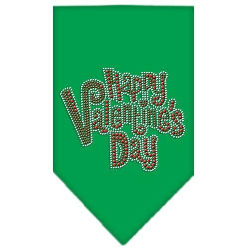 Happy Valentines Day Rhinestone Bandana Emerald Green Large