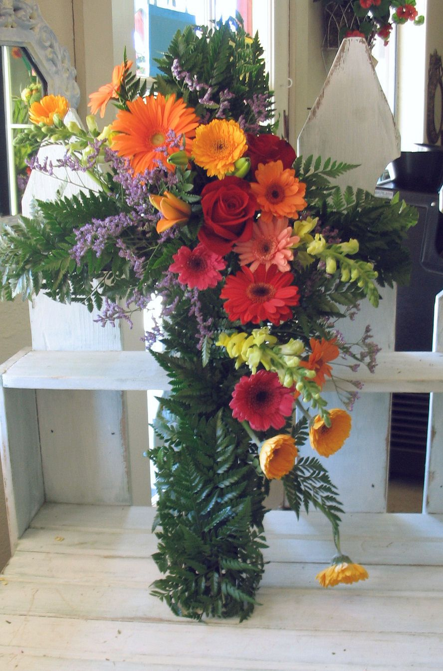 Sympathy Flowers | an impressive standing spray with gladiolas in ...