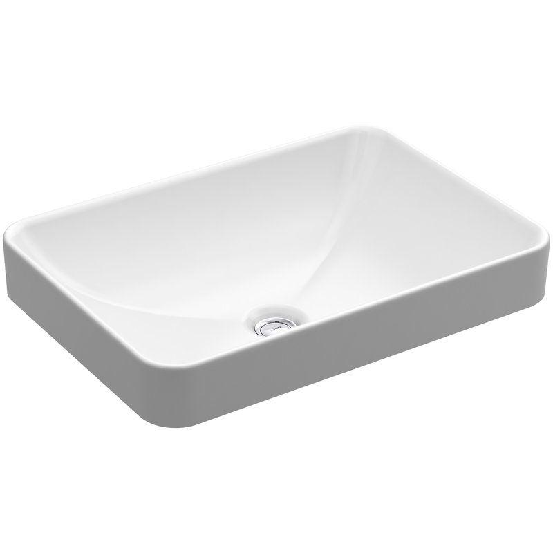 Vox Vitreous China Rectangular Vessel Bathroom Sink With Overflow Drop In Bathroom Sinks