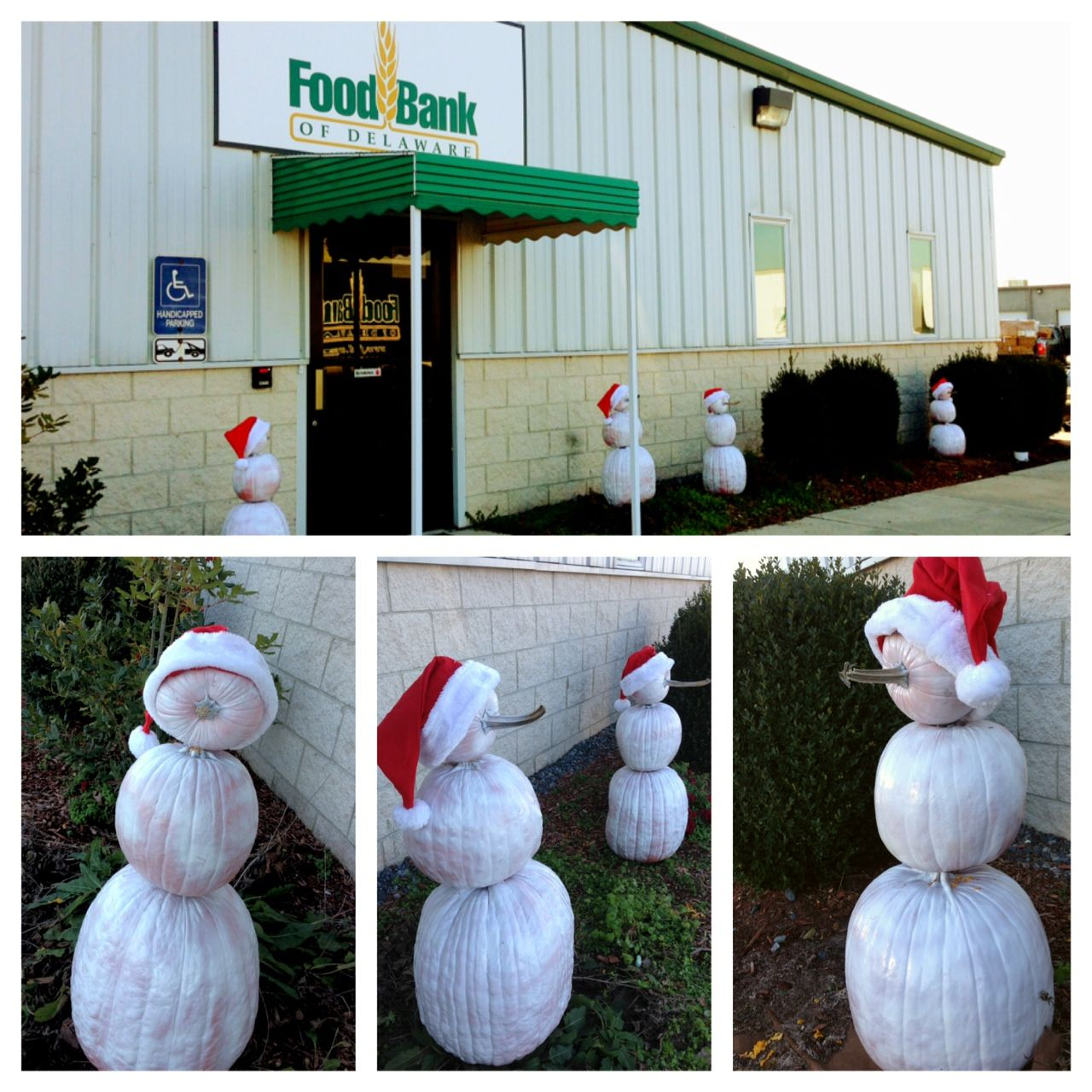 A great way to use fall pumpkins for the holidays! Spray pumpkins white for adorable snowmen!