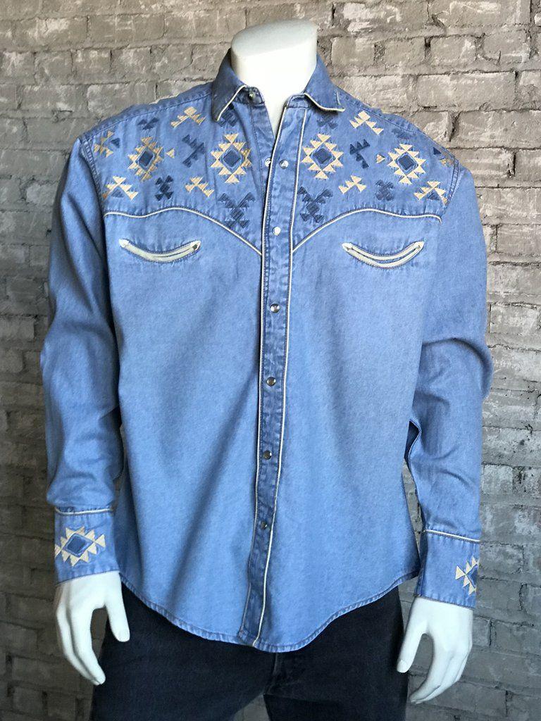 40ad9975 Rockmount Men's Vintage <<>> Native Embroidered Western Shirt Shirt Maker,  Denim Button
