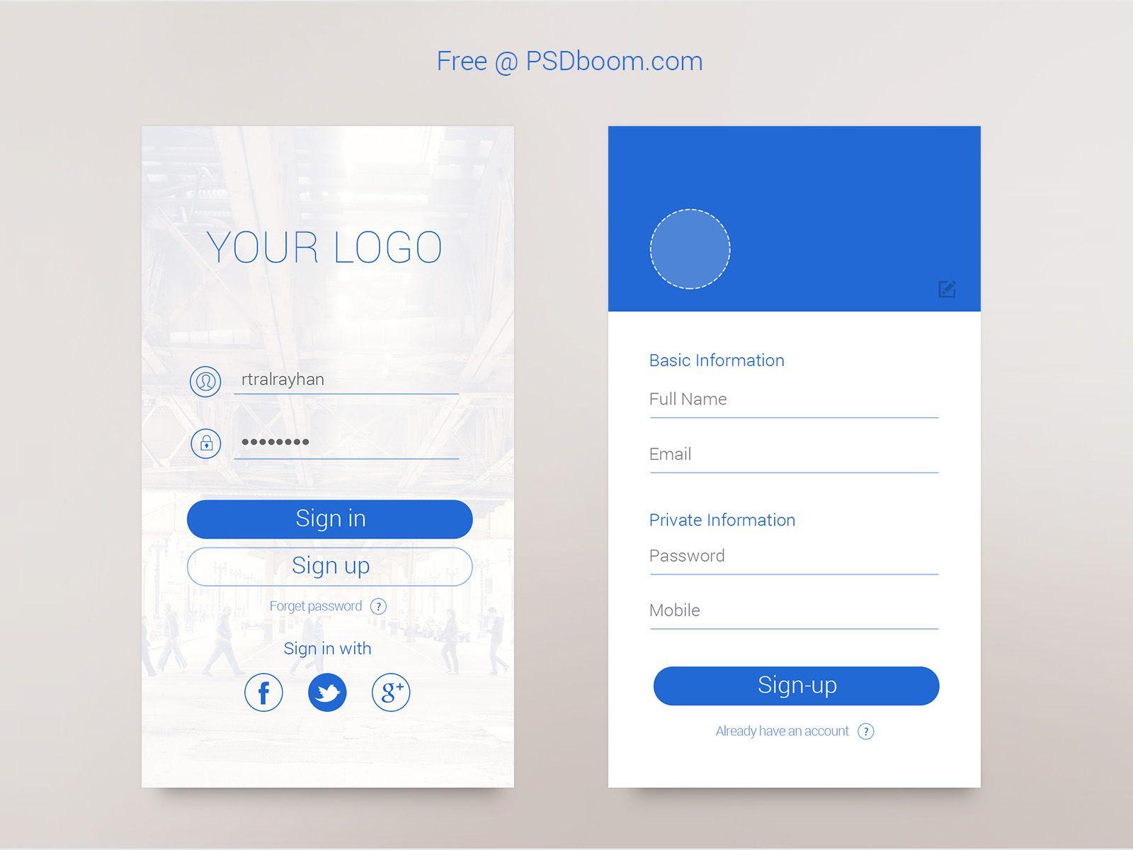 Iphone6 Sign Up Free Psd Signin App Login Form Pinterest App
