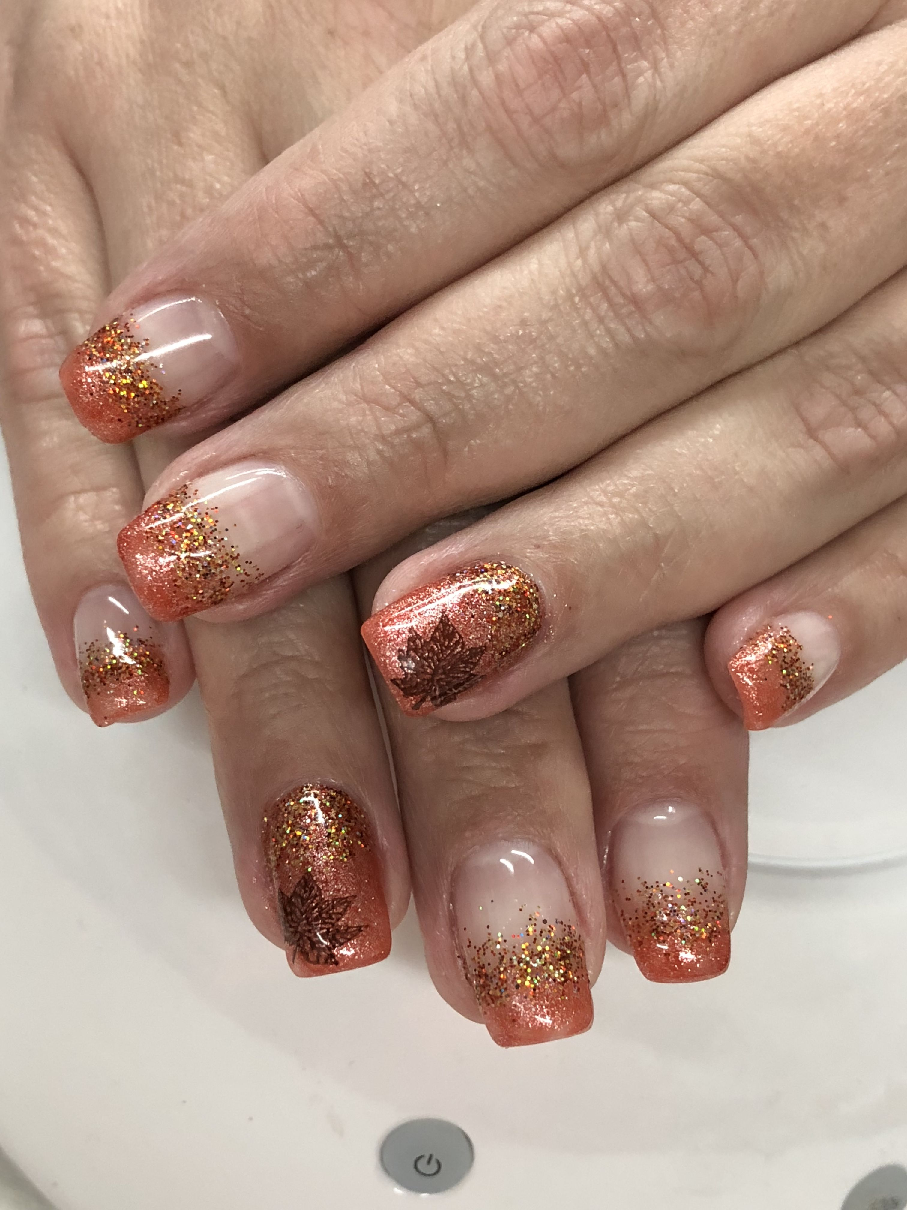 Shimmer Orange French Fall Ombre Glitter Gel Nails Glitter Gel Nails Ombre Nails Glitter Fall Gel Nails