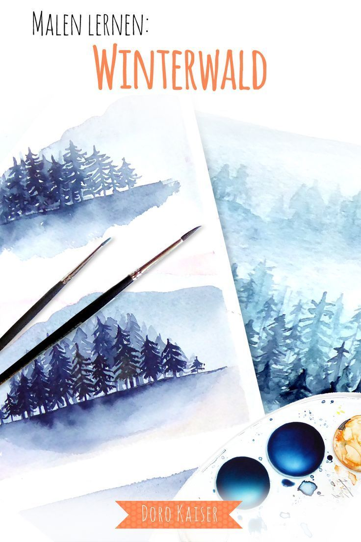 Malen Lernen Mit Aquarell Winterwald Aquarell Watercolor