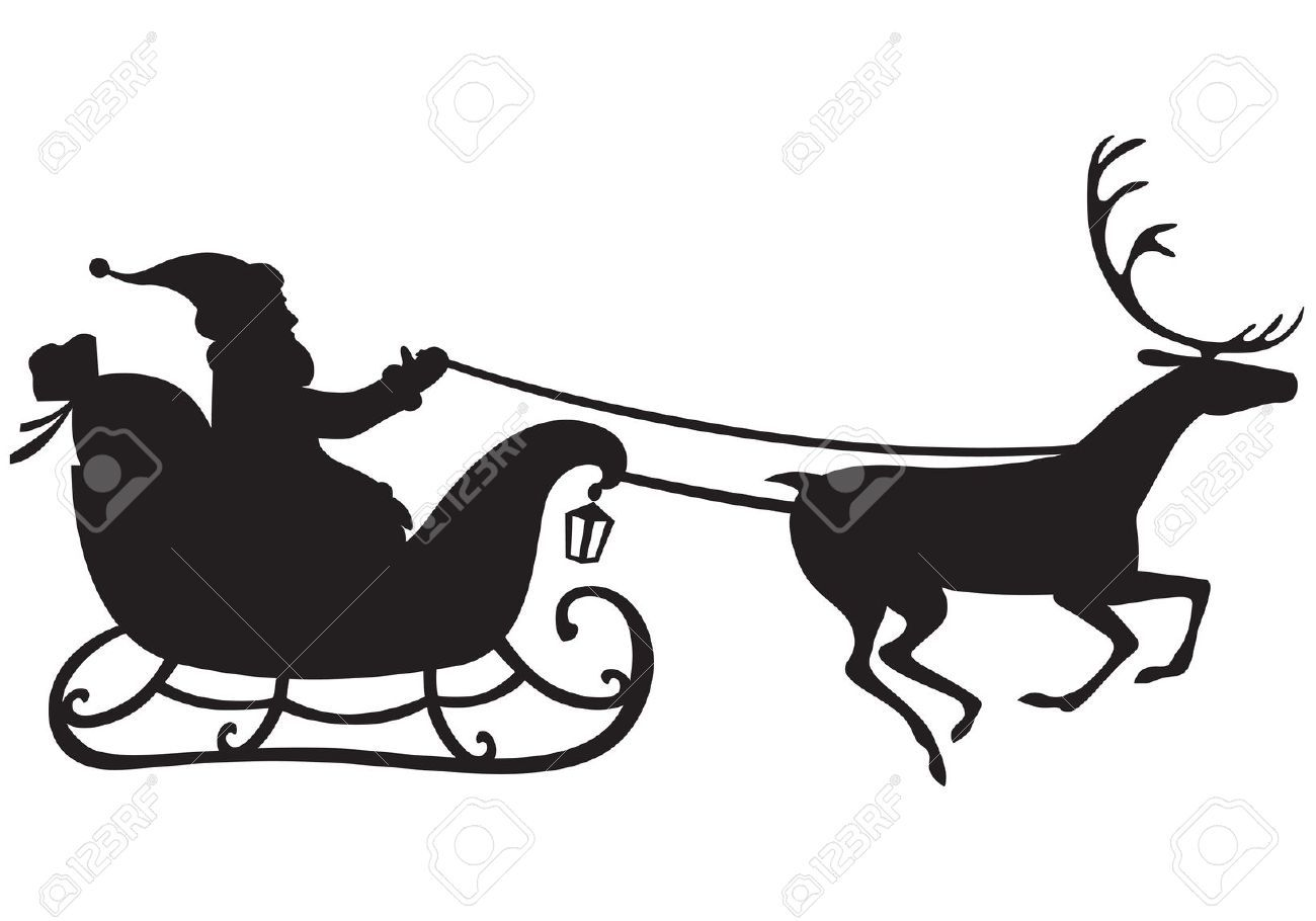 Silhouette Of Santa Claus Riding A Sleigh Pulled By