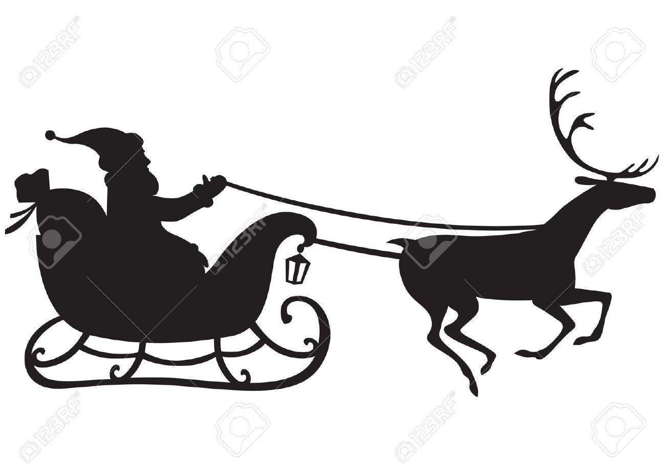 Silhouette Of Santa Claus Riding A Sleigh Pulled By Reindeer Reindeer And Sleigh Santa Sleigh Silhouette Santa And Reindeer