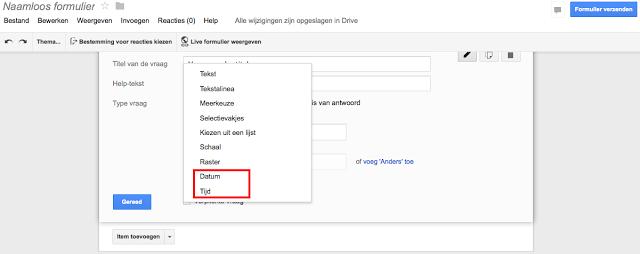 Nieuwe optie om datum & tijd op te vragen met Google Forms In formulieren van Google Drive is het nu mogelijk  om datum en tijd te verzamelen op een efficiëntere manier Deze gestructureerde velden waren nooit een optie bij formulieren, maar zijn nu toegevoegd. Op deze manier is het mogelijk datum en tijd gestructureerder in de spreadsheet te krijgen.