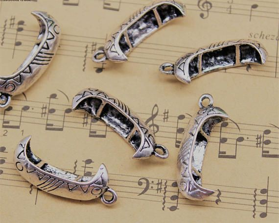 Silver Canoe Charms 3D 2-Sided Set of 2