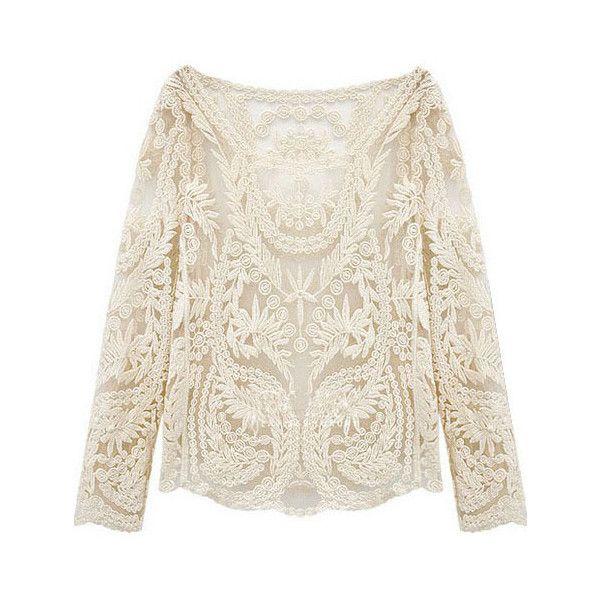 Shein Sheinside Beige Long Sleeve Hollow Crochet Lace Blouse Lace Long Sleeve Shirt Lace Top Long Sleeve Lace Blouse Long Sleeve
