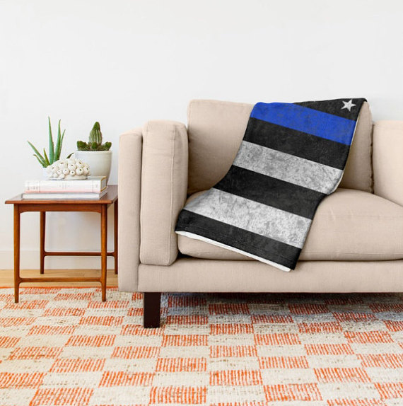 throw blanket - the thin blue line - 3 sizes, 2 styles - american