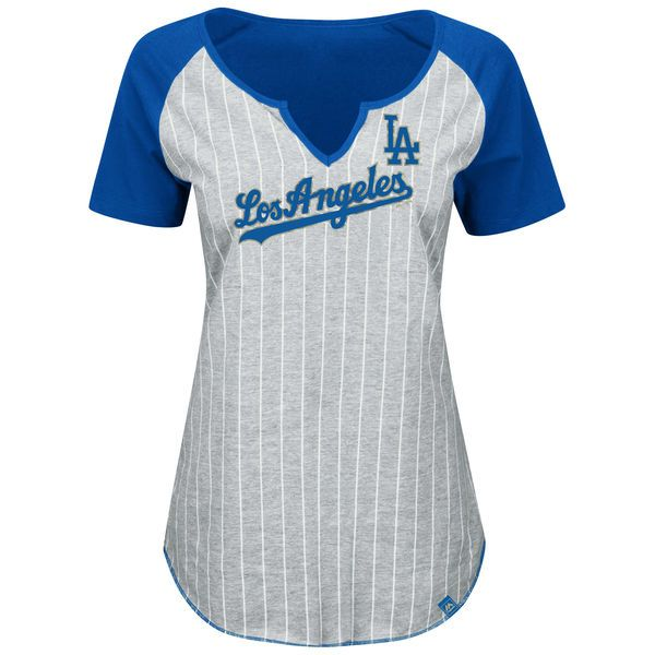5b227ce1f3c7d Majestic Los Angeles Dodgers Women s Gray Royal Plus Size From The Stretch  Pinstripe V-Notch T-Shirt