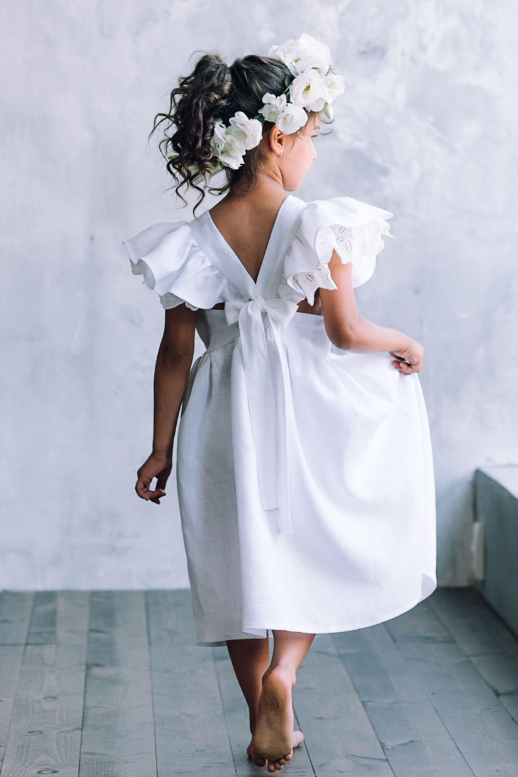Baptism dress toddler, Christening dress, Boho dress for girls, Girls linen dress, Girls pinafore