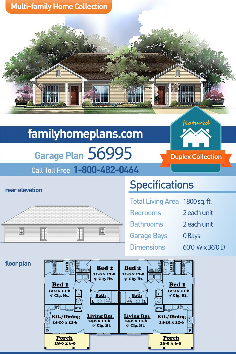 Ranch Style Multi Family Plan 56995 With 4 Bed 4 Bath Duplex House Plans Family House Plans Duplex House