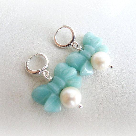 Freshwater pearls earrings amazonite earrings by MalinaCapricciosa