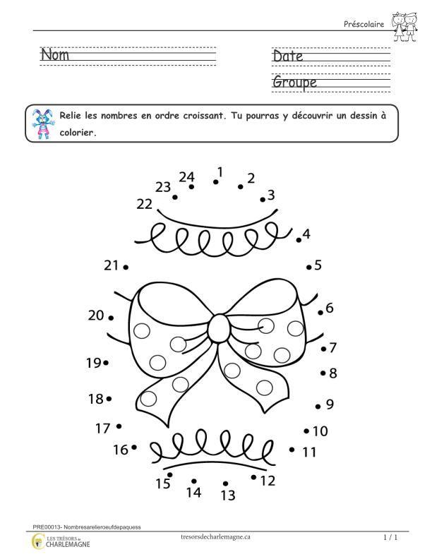 Exercice mathématique préscolaire – Nombres à relier – Oeuf de Pâques