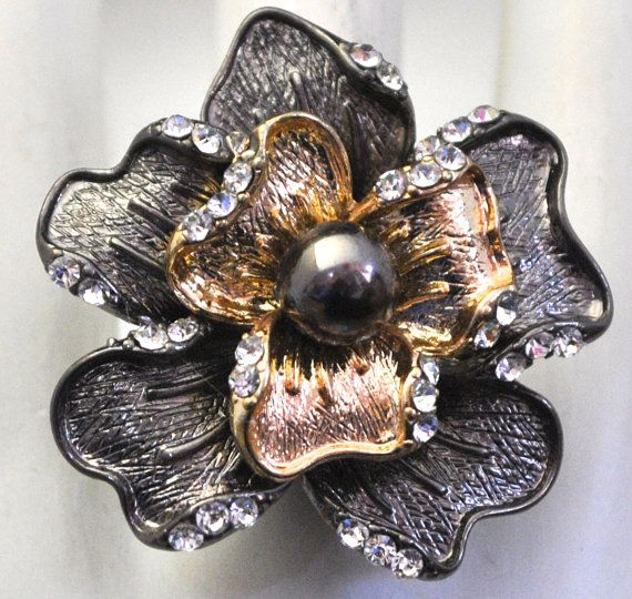Two Tone Cocktail Ring Gold Graphite Flower by victoriascharms, $15.00