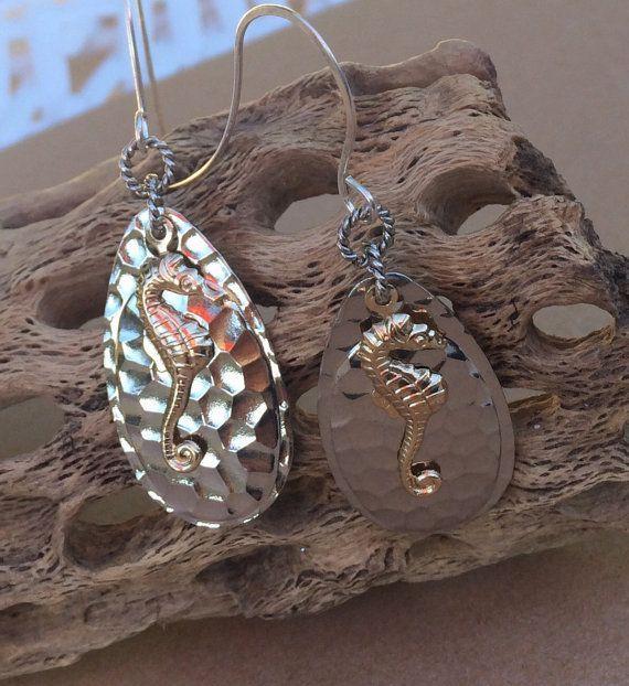 Unique seahorse earrings fishing lure earrings boho beach wedding jewelry bridal earrings silver drop earrings bohemian clothing for women