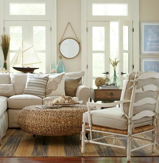 Rustic Beige Beach Cottage Living Room Cottage living rooms