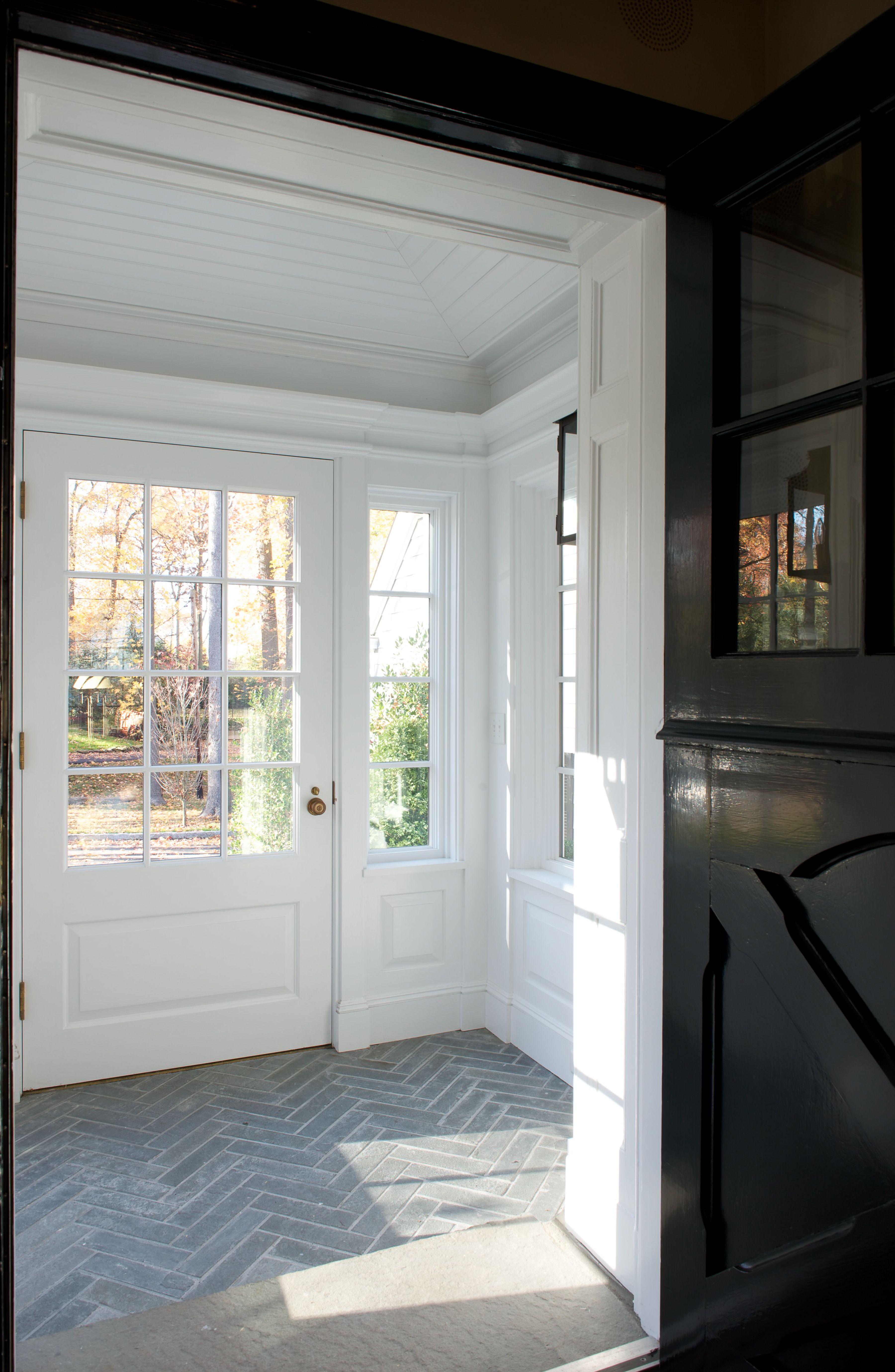 Herringbone Tile, Black Dutch Door   Mudroom