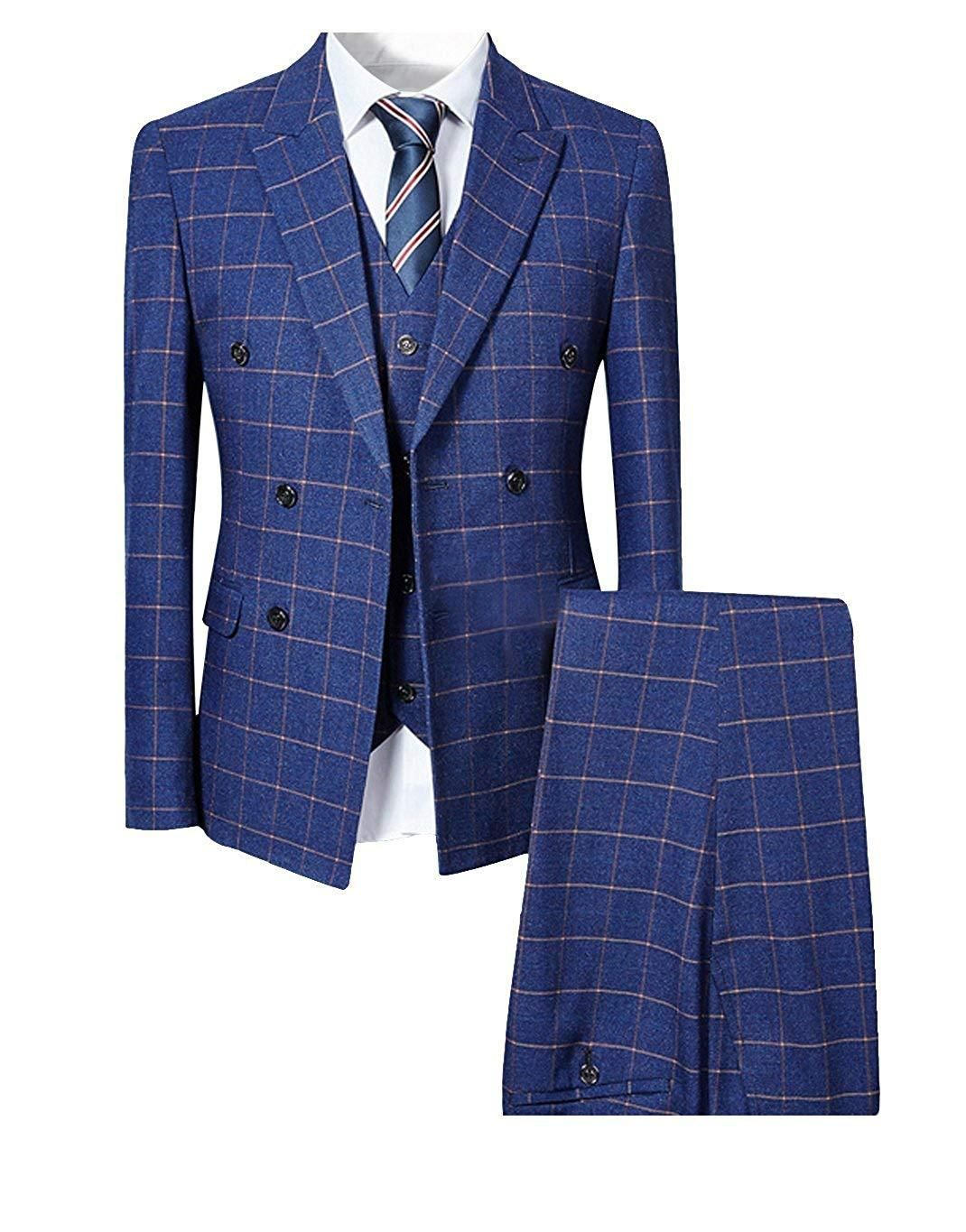 Mens Blue Slim Fit 3 Piece Checked Suits Double Breasted Vintage Fashion Checked Suit Slim Fit Suits Tailor Made Suits