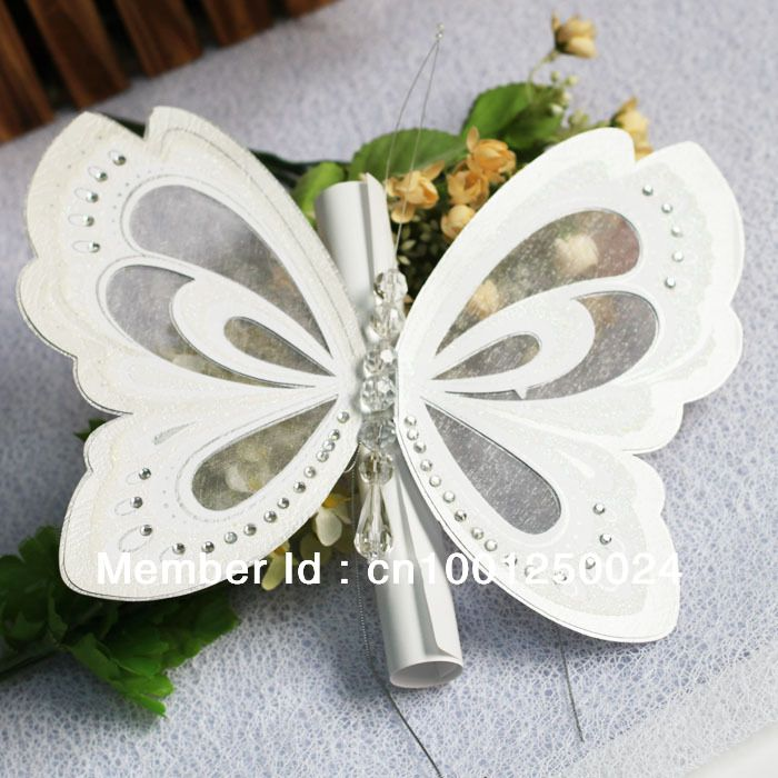 wedding cards t192 ivory big butterfly with box wedding