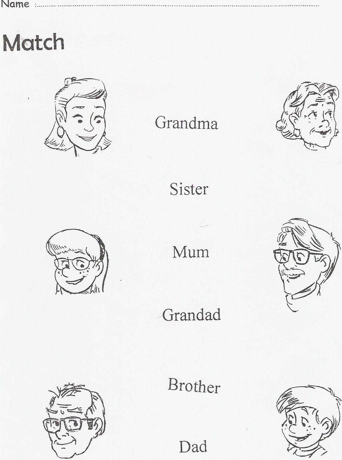 La familia en ingles para colorear  Imagui  FAMILIA  Pinterest