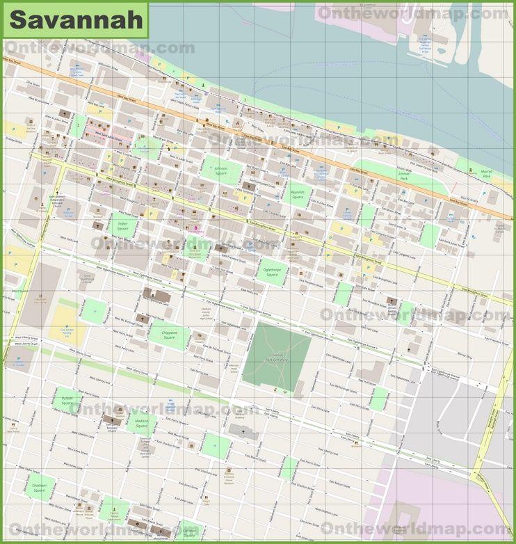 Savannah city center map Maps Pinterest chats Savannah Usa
