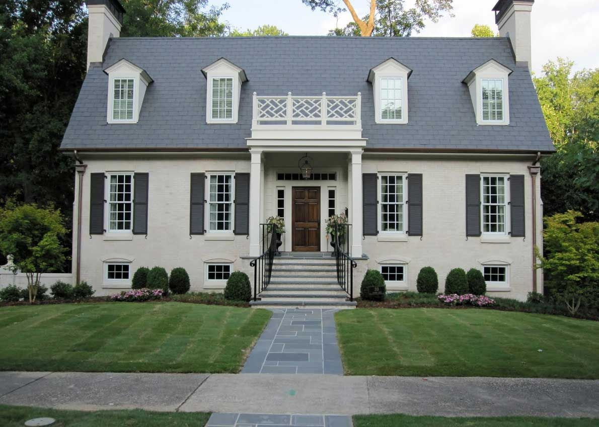 Awesome Home Painted How To Paint Brick House With Cream Wall Color Theme And White Windows Frame Also Gray Roof Tile