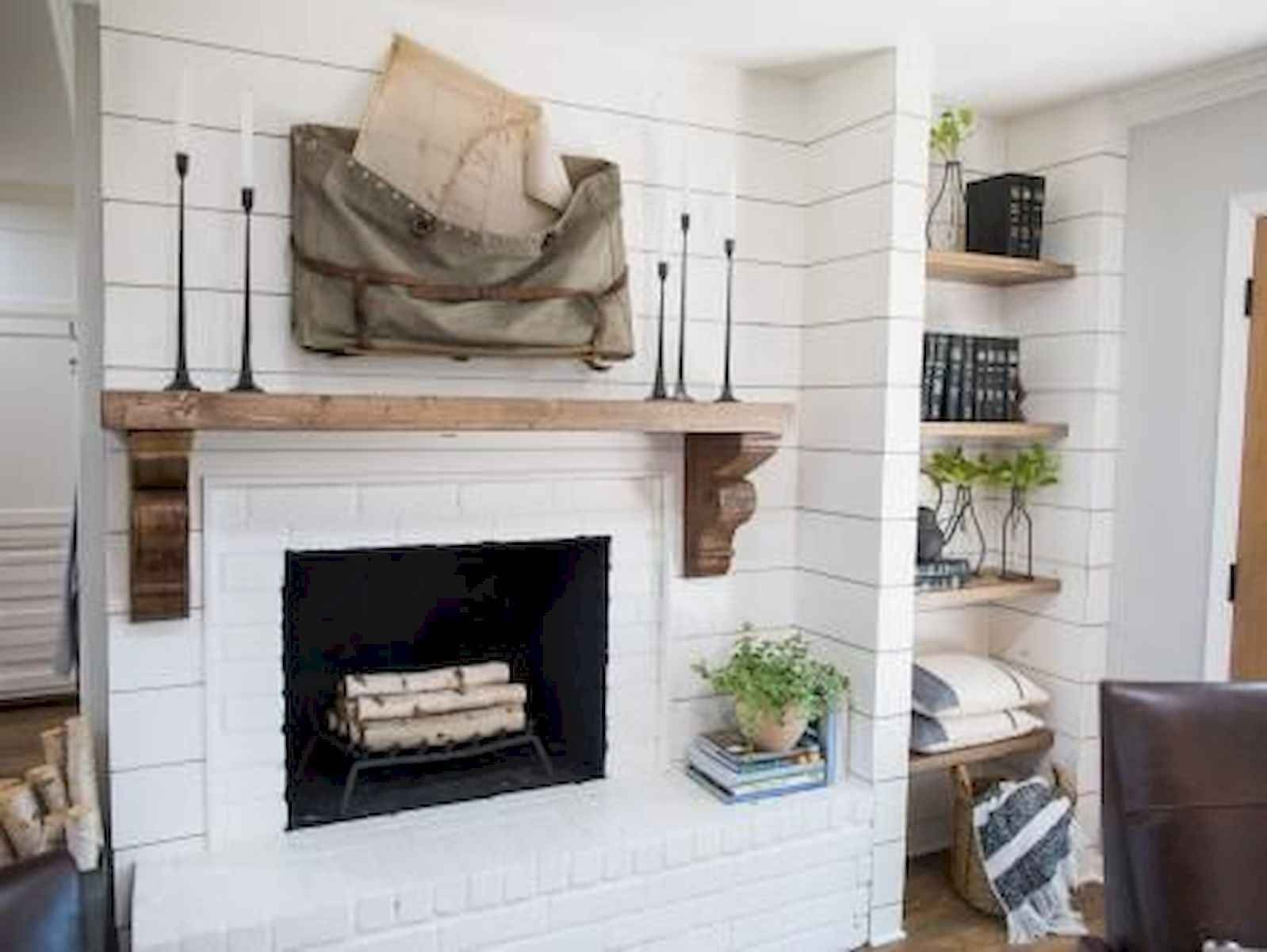 40 Best Modern Farmhouse Fireplace Mantel Decor Ideas 30