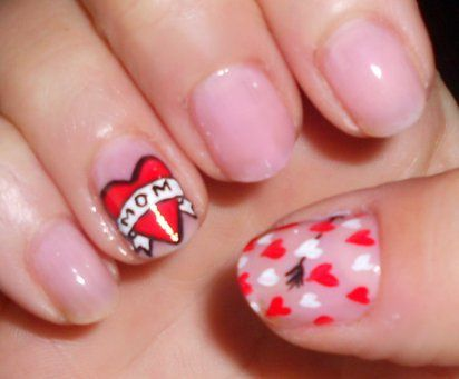 sweet valentines day finger nail designs idea for use this