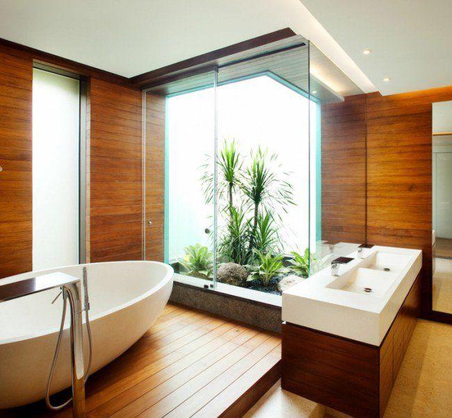 salle de bain bois, lambris mural, revêtement de sol assorti et
