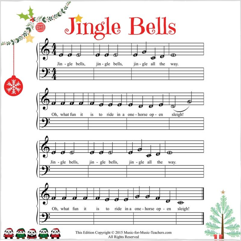 Piano beginning piano sheet music : Jingle Bells - Free Piano Music for Kids | Beginner Piano Songs ...