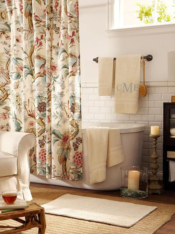 A Nature Inspired Shower Curtain Takes Center Stage Surrounded By Neutral Hues