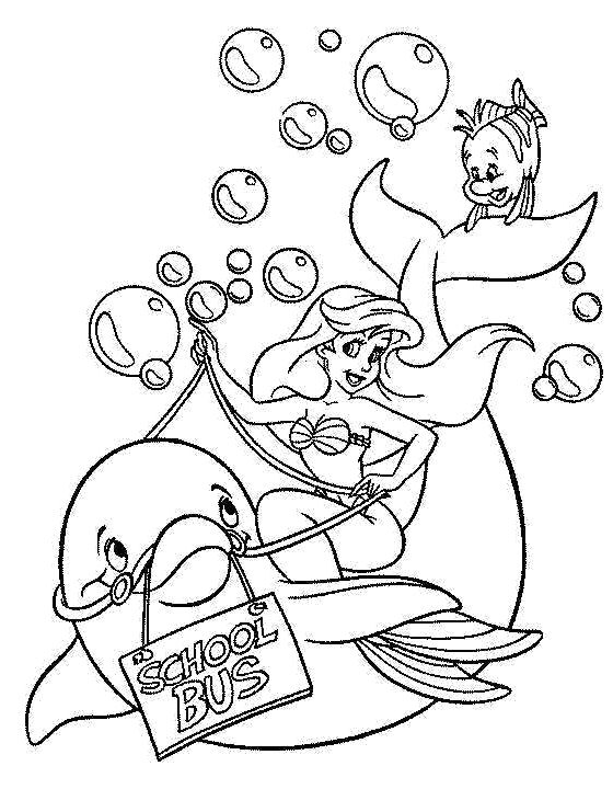 Dolphin Ariel And Flounder Coloring Pages | kids - colouring pics ...