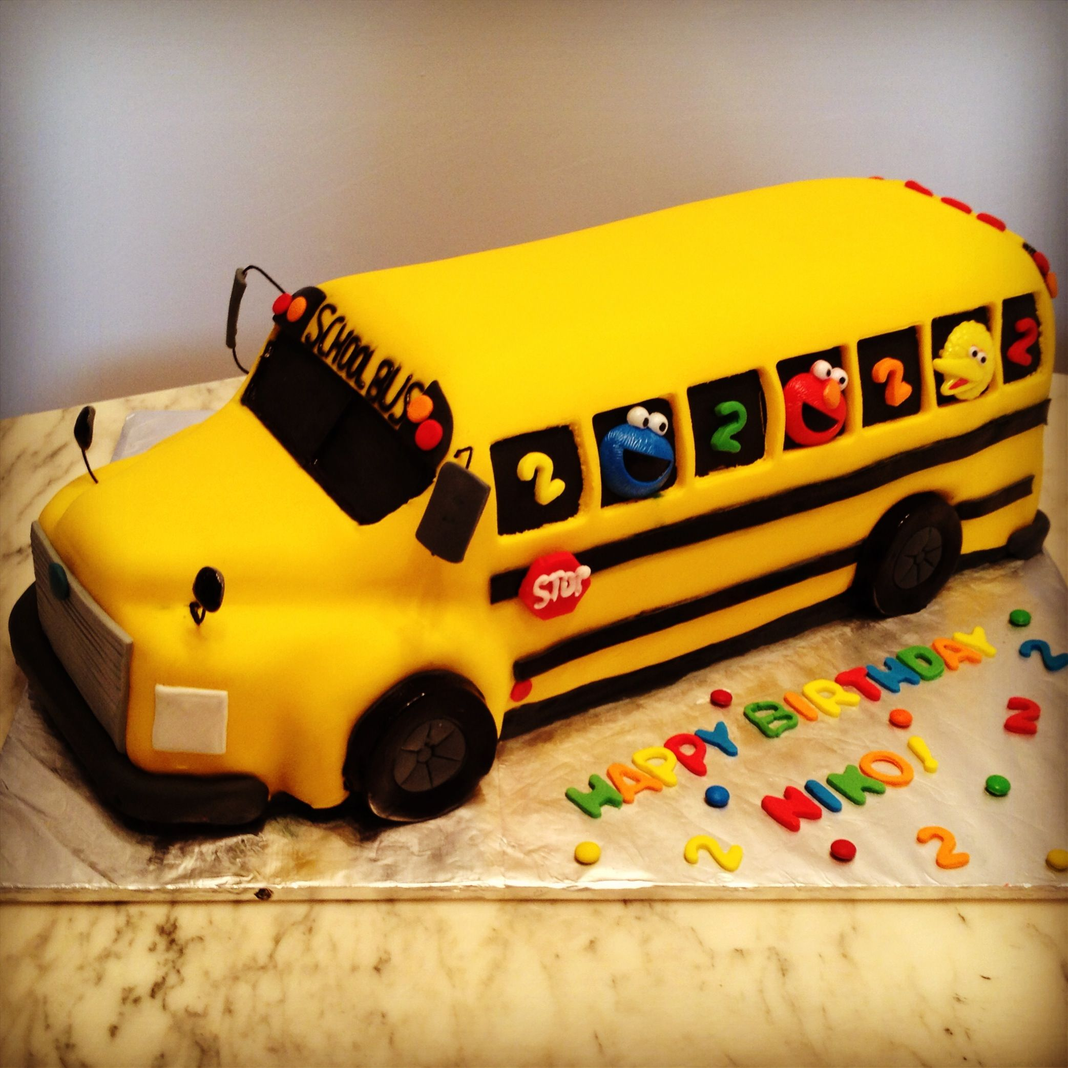 School Bus Cake Sesame Street Transportation Birthday Party