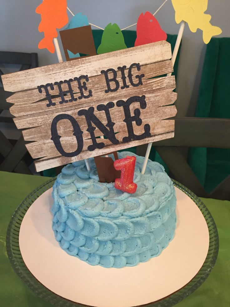 Big one cake topper Gone fishing theme birthday First birthday