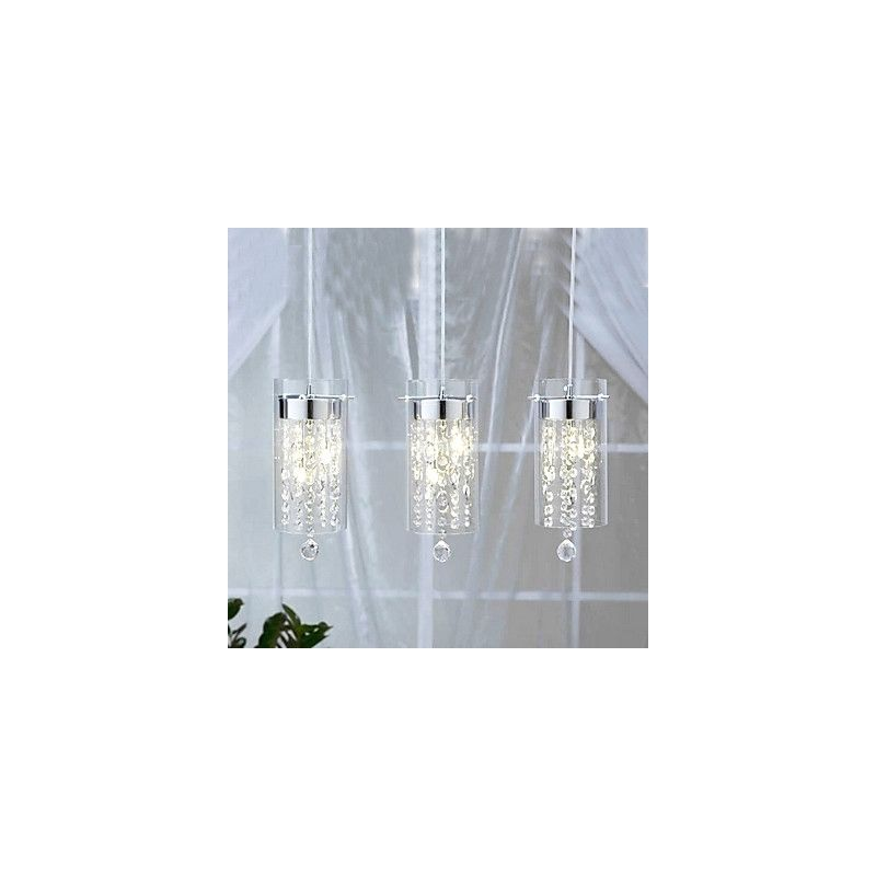 Artistic Style Crystal 3 Light Pendant Lights With Gl Shades G4 Bulb Base