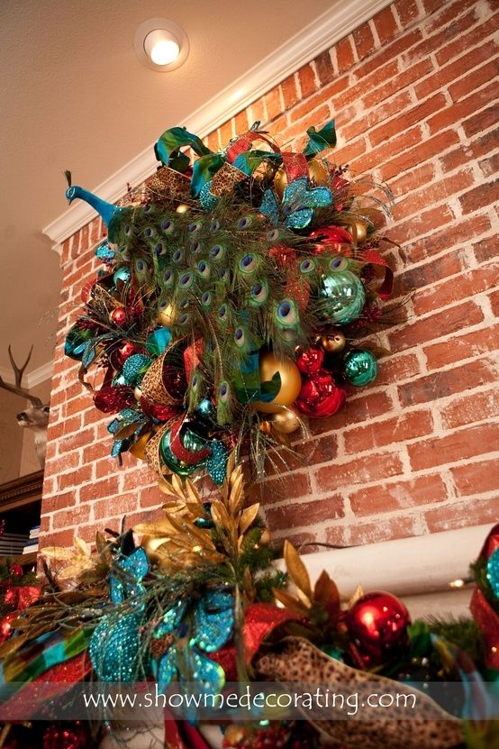 peacock wreath by camaleta Christmas ) Pinterest Peacock