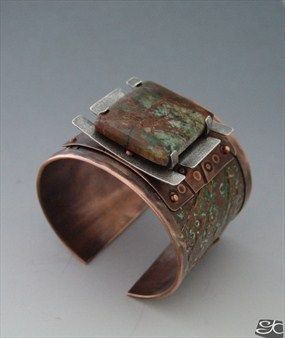 Gisela Kati Handmade copper and sterling silver cuff bracelet with brown and green patinas ,the focal piece is a turtle set green African opal.